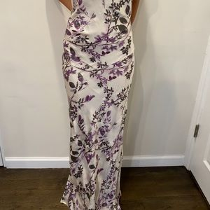 Bergdorf Goodman white and purple floral dress